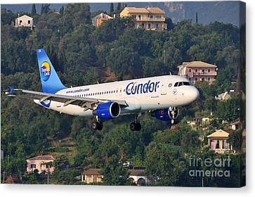 Condor Canvas Print - Approaching Corfu Airport by George Atsametakis