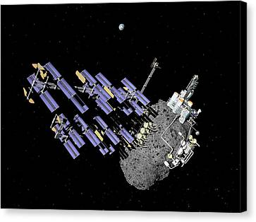 Asteroid Mining Outpost Canvas Print by Walter Myers