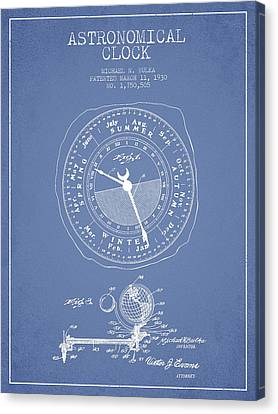 Astronomical Clock Patent From 1930 Canvas Print