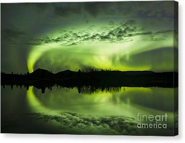 Aurora Borealis Over Fish Lake Canvas Print by Joseph Bradley