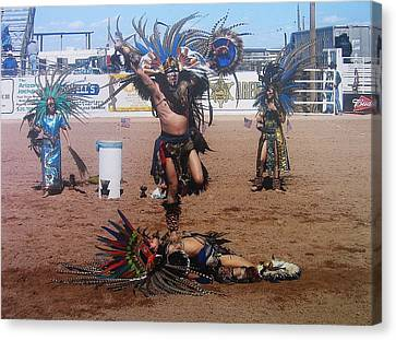 Aztec Performers Arena O'odham Tash Casa Grande Arizona 2006  Canvas Print by David Lee Guss