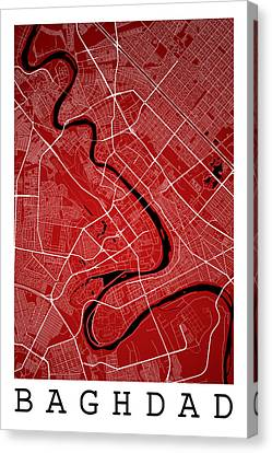 Baghdad Street Map - Baghdad Iraq Road Map Art On Color Canvas Print by Jurq Studio