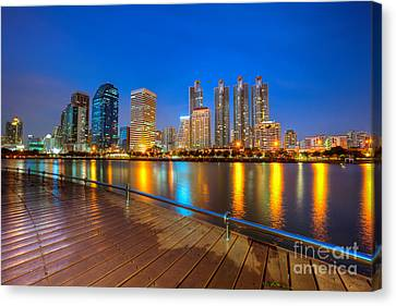 Canvas Print - Bangkok City Night Skyline by Fototrav Print