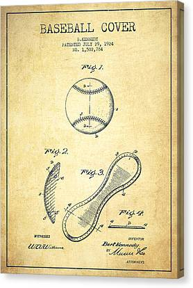 Baseball Bat Canvas Print - Baseball Cover Patent Drawing From 1924 by Aged Pixel