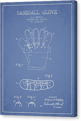 Baseball Gloves Canvas Print - Baseball Glove Patent Drawing From 1922 by Aged Pixel