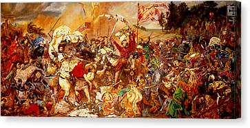 Canvas Print featuring the painting Battle Of Grunwald by Henryk Gorecki