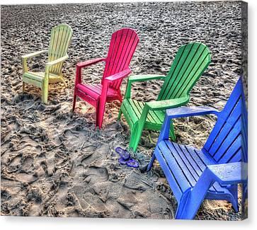Canvas Print featuring the digital art 4 Beach Chairs by Michael Thomas