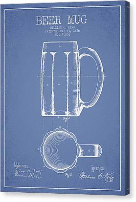 Beer Mug Patent From 1876 - Light Blue Canvas Print by Aged Pixel