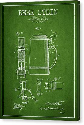Beer Stein Patent From 1914 - Green Canvas Print by Aged Pixel