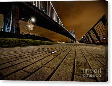 Ben Franklin Bridge At Night Canvas Print by Mark Ayzenberg