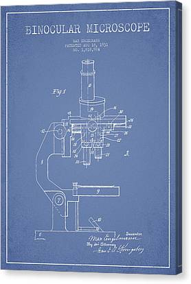 Binocular Microscope Patent Drawing From 1931 - Light Blue Canvas Print by Aged Pixel