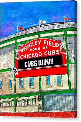 Blue Skies Over Wrigley Canvas Print by Janet Immordino