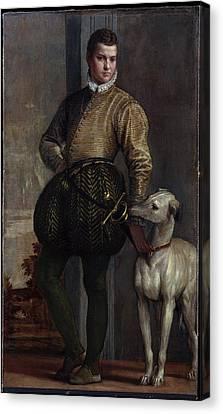 Boy With A Greyhound Canvas Print