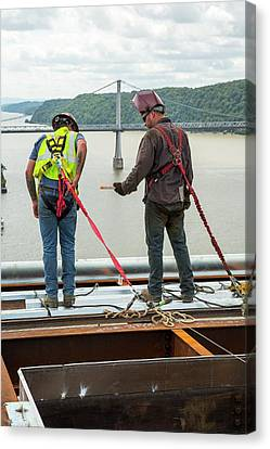 Bridge Lift Construction Workers Canvas Print by Jim West