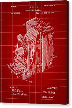 Camera Patent 1887 - Red Canvas Print by Stephen Younts