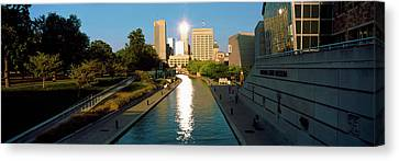 Canal In A City, Indianapolis Canal Canvas Print