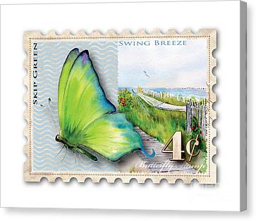 4 Cent Butterfly Stamp Canvas Print by Amy Kirkpatrick
