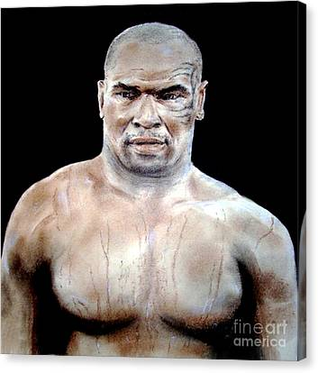 Canvas Print featuring the painting Champion Boxer And Actor Mike Tyson by Jim Fitzpatrick