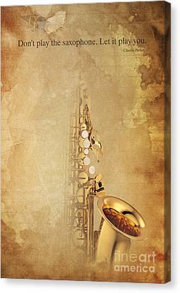 Charlie Parker Quote - Sax Canvas Print