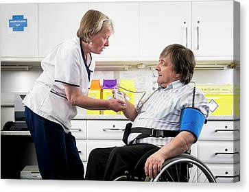 Check Up With Disabled Man Canvas Print