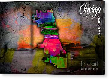 Cities Canvas Print - Chicago Map Watercolor by Marvin Blaine