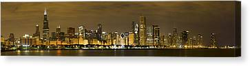 Chicago Skyline Canvas Print - Chicago Skyline At Night by Sebastian Musial