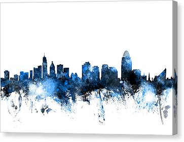 Cincinnati Ohio Skyline Canvas Print by Michael Tompsett