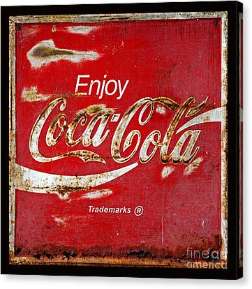 Coca Cola Vintage Rusty Sign Black Border Canvas Print by John Stephens