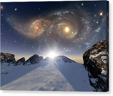Alien Planet Canvas Print - Colliding Galaxies by Detlev Van Ravenswaay