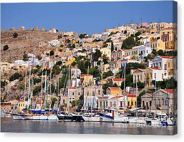 Port Canvas Print - Colorful Symi by George Atsametakis