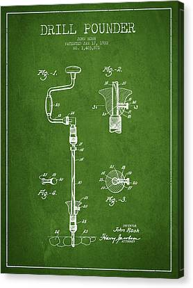 Drill Pounder Patent Drawing From 1922 Canvas Print by Aged Pixel