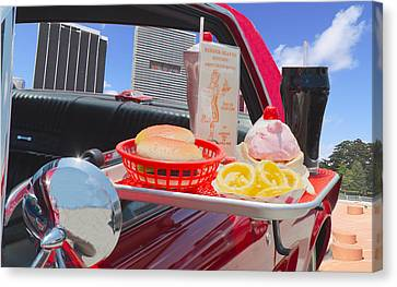 Burger Canvas Print - Drive In by Rudy Umans