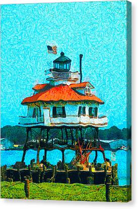Red Roof Canvas Print - Drum Point Light by Unknown