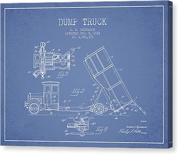Machinery Canvas Print - Dump Truck Patent Drawing From 1934 by Aged Pixel