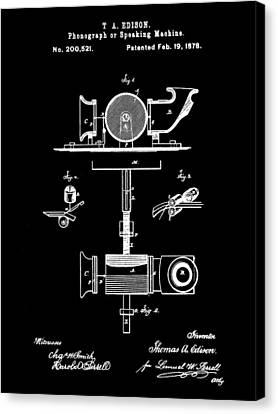 Edison Phonograph Patent 1878 - Black Canvas Print by Stephen Younts