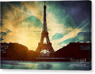 Eiffel Tower In Paris Fance In Retro Style Canvas Print by Michal Bednarek