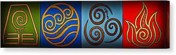 4 Elements In Cylantyca Canvas Print by Cyryn Fyrcyd