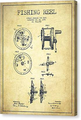 Reel Canvas Print - Fishing Reel Patent From 1896 by Aged Pixel