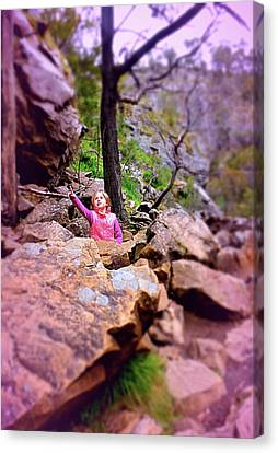 Little Girl In Forest Canvas Print by Girish J