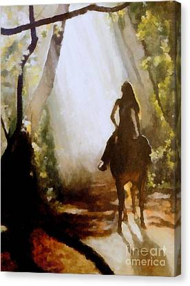 Sun Rays Canvas Print - Forest Rider by Diana Besser