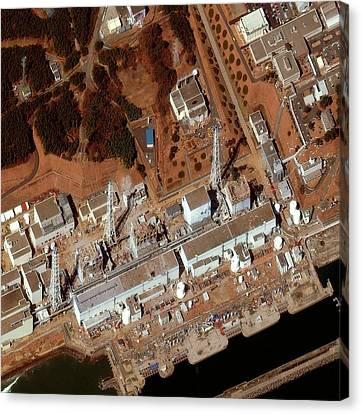 Flooding Canvas Print - Fukushima Nuclear Power Plant by Digital Globe