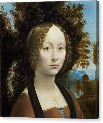 Smiling Jesus Canvas Print - Ginevra De' Benci by Leonardo Da Vinci