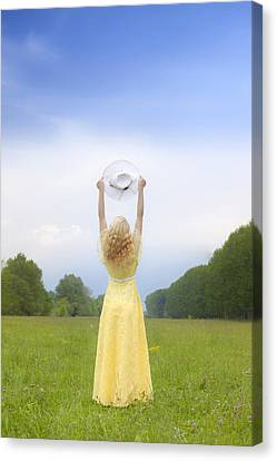 Girl On Meadow Canvas Print
