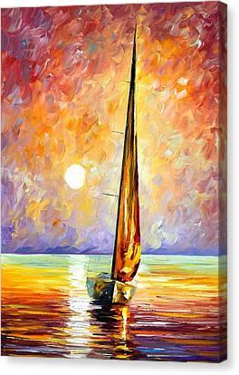 Gold Sail Canvas Print by Leonid Afremov