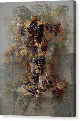 Red Leaf Canvas Print - Grapes And Architecture by Edwin Deakin