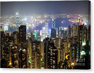 Hong Kong Harbor From Victoria Peak At Night Canvas Print by Matteo Colombo