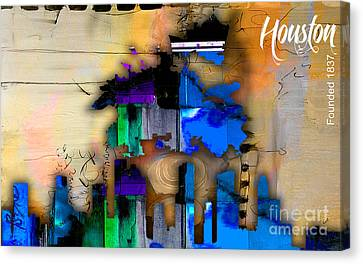 Houston Map And Skyline Watercolor Canvas Print