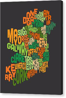 Map Art Canvas Print - Ireland Eire County Text Map by Michael Tompsett