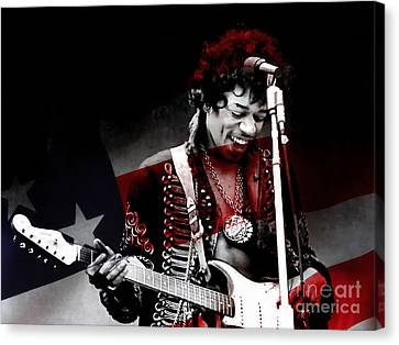 Hendrix Canvas Print - Jimi Hendrix by Marvin Blaine
