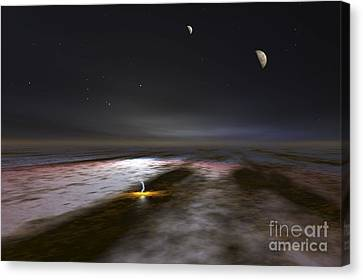 Jupiter And Its Moons, Artwork Canvas Print by Walter Myers